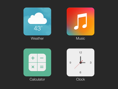 Icons mobile ios icons music clock weather calculator vector