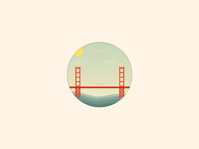 Golden Gate Bridge vector icon ocean golden gate bridge san francisco sky clouds cartoon sf bay