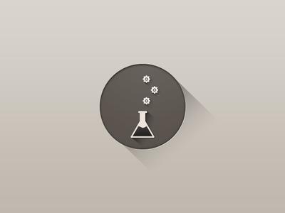 Optimization Icon long shadow longshadow icon vector beaker cog