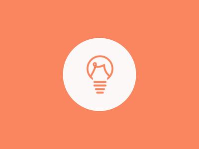 r light bulb logo