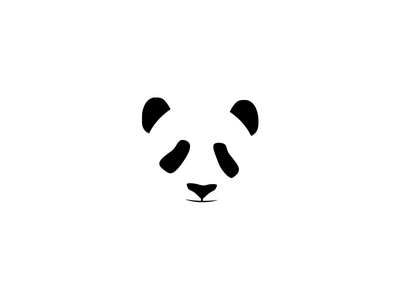 Panda white black logo space symbol negative mark closure bear