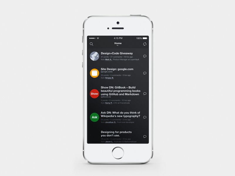 Designer News Home Screen search layervault mockup icons iphone app comments ios social ui dark mobile