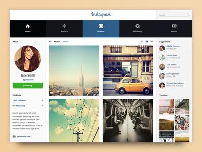 Instagram Concept network redesign web app application photos social design ux interface insta ui