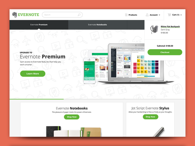 Evernote Market Concept ecommerce shop premium store redesign ui ux backpack stylus notebook icons