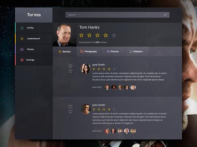 Tor'ess Movie App rating mobile social network app ios reviews application visual interface web dark ui