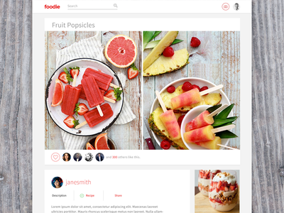 foodie recipe food web app activity social network photos interface design ui application