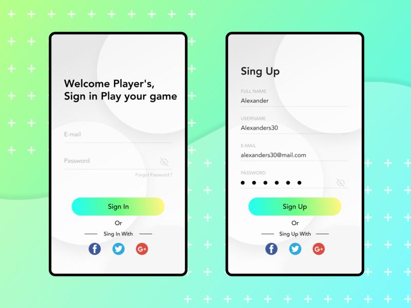Sign in & Sign Up Simple dailyui uiux design mobile ui mobile app design exploration app design ui design ui