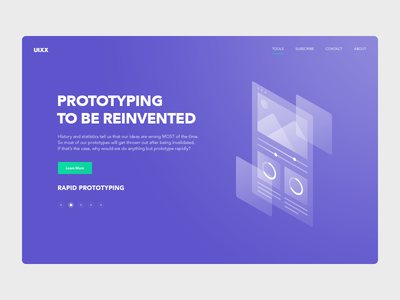 Landing page for a new prototyping tool