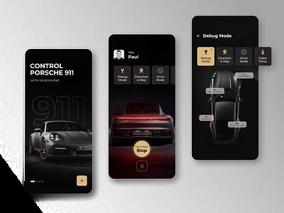 App Control Porsche 911 dark ui app 911 porsche ios figma car black ux ui minimal interface design