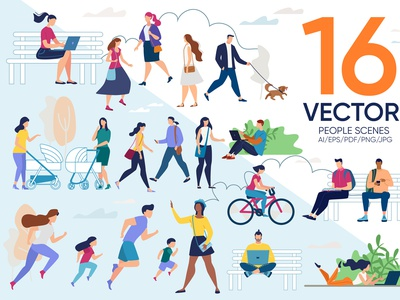 People Vector Scenes screen design internet social care happy relax funny media drawing creative business graphic online character scene concept illustration