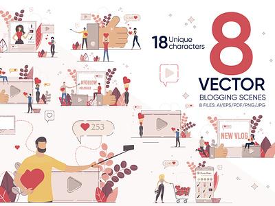 Blogging Vector Scenes blogger concept creative education digital web internet article post video technology media banner social blog content flat business vector illustration