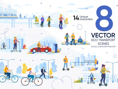 Eco Transport Vector Scenes journey banner segway man lifestyle ride person gyro travel road scooter character electric city bike car vector people transport eco