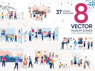 Museum Vector Scenes sculpture history modern picture statue visitor character woman artwork people exhibit painting art exposition cartoon gallery illustration flat vector museum