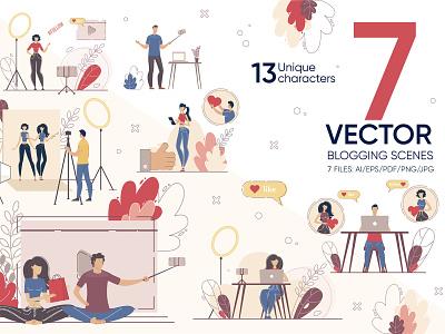 Blogging Vector Scenes editor blogger channel online design freelance vector social illustration article quality digital storytelling media flat write creation content blog market