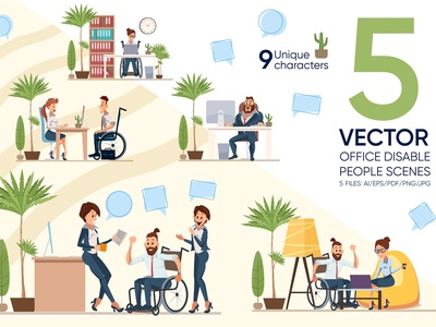 Office Disable People Scenes paralysis casual design office healthcare hand concept coworkers modern employment teamwork communication businesswoman career invalid technology smiling laptop handicapped disability