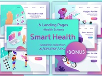 Set of web pages isometric design Smart Health