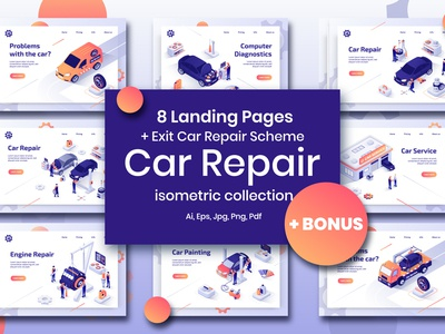 Car Repair Set Isometric Design