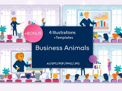 Business Animals Flat Collection