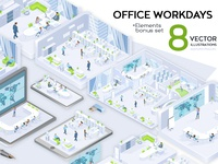 Office Workdays Isometric Design