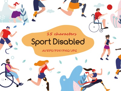 Sport Disabled Flat Collection disable cartoon man healthcare playing disability illustration life athlete handicapped isolated handicap collection concept design invalid disabled flat wheelchair sport