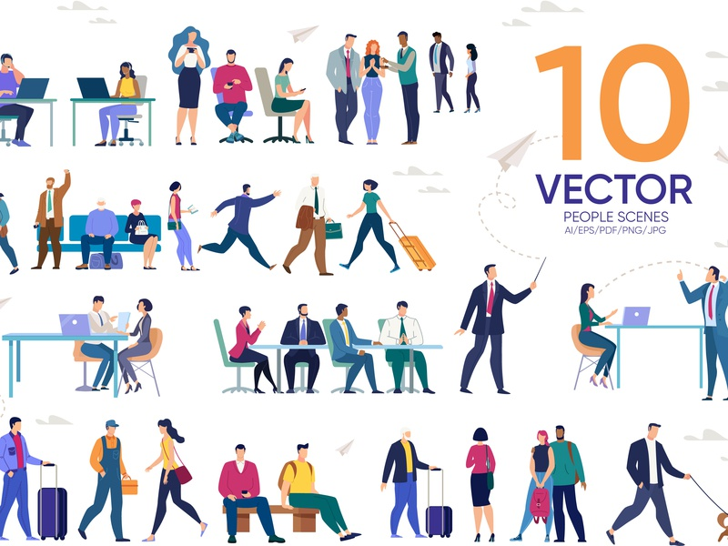 People Scenes Flat Collection talk social office profession design character flat woman company boss businessman cartoon man work professional people group business team vector