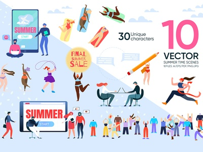 Vector Summer Time Scenes