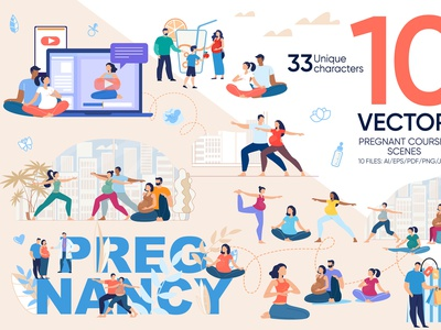 Pregnant Courses Vector Scenes set trendy internet exercise fitness website flat landing yoga online mother banner family pregnancy preparation vector motherhood illustration childbirth pregnant