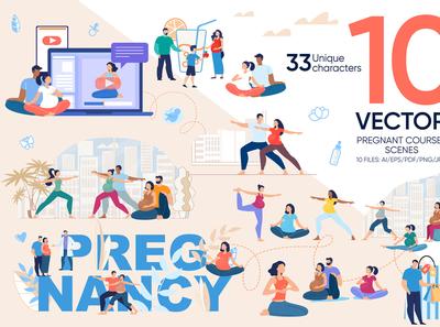 Pregnant Courses Vector Scenes