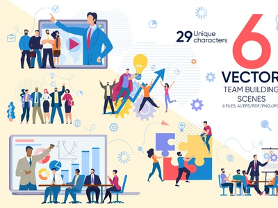 Team Building Vector Scene infographic creative template employee company solution together partnership group flat banner vector people technology teamwork illustration building business work team