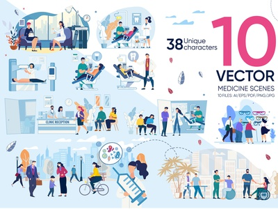 Medicine Vector Scenes medical character set consultation woman physician ophthalmologist office illustration child care aid scene flat medicine health visit vector medic doctor