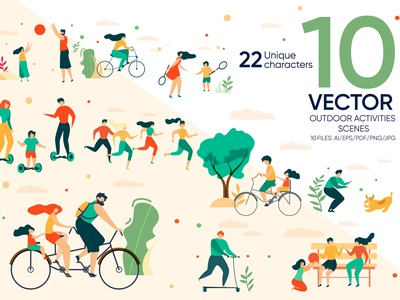 Outdoor Activities Vector Scenes kids vitality dog person jogging collection summer sport group character exercise garden nature illustration tree people bicycle park outdoor vector