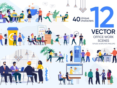 Office Work Vector Scenes collaboration worker boss employee job background desk presentation professional corporate meeting woman illustration person team people vector office business work