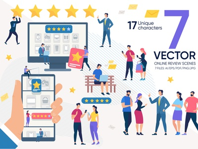 Online Review Vector Scenes vote star illustration user experience concept quality service flat business bad survey feedback rate positive vector good customer review online