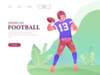 American Football Illustration For Landing Page Concept