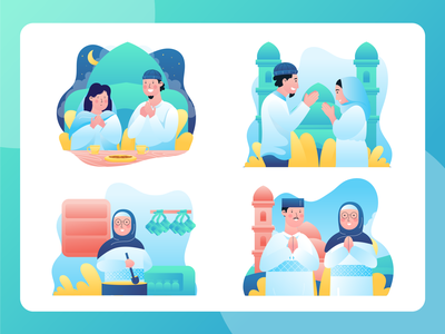 Ramadan Set Illustrations iconset freelance designer design website flat vector illustration ramadan mubarak ied ul fitr ied ramadan kareem ramadan