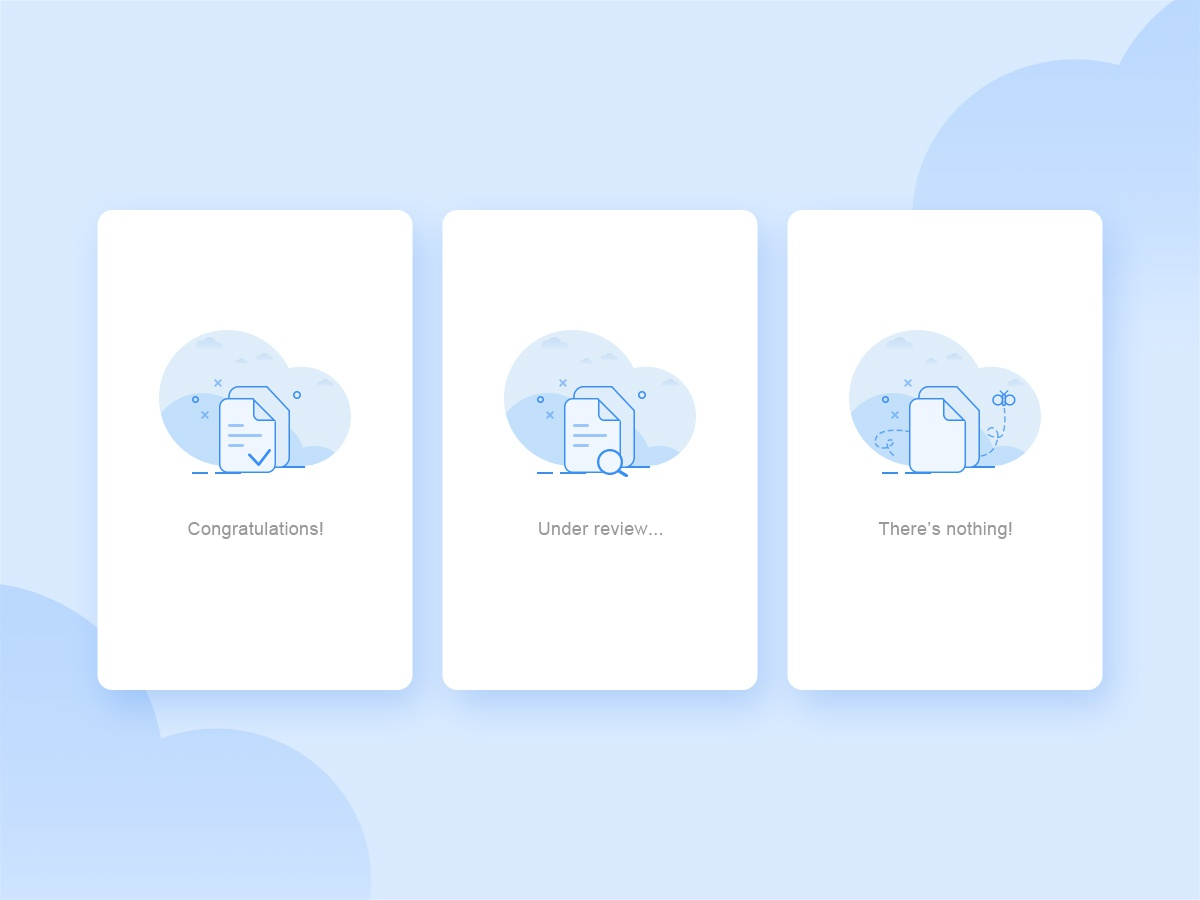 Empty Pages state white ui illustration financial empty state clean design blue app