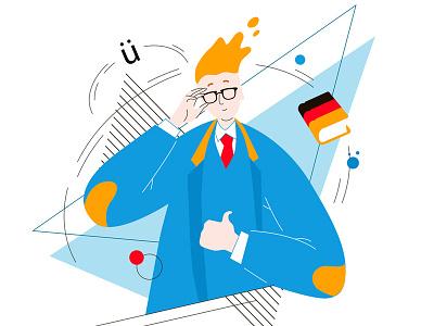 Teacher of German. flat teacher of german illustrations for the site european universities vector