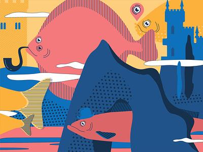 Flounder fish character design fishes flat vector illustration