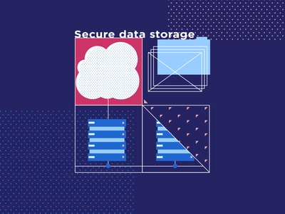 Secure data storage geometric data storage big data flat illustrations for the site vector