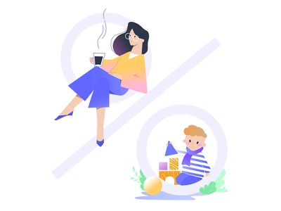 Discounts child mother discounts illustration flat vector