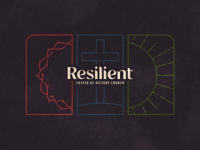 Resilient Sermon Art cross event branding church design church marketing