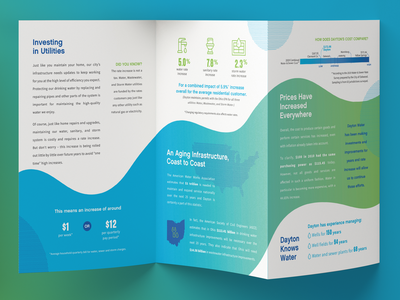 Trifold Brochure Spread branding campaign brochure statistics infographic gradient water