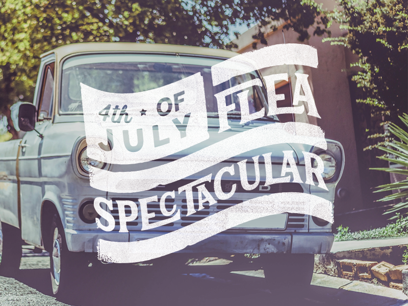 Flea Spectacular event flea market ford patriotism usa freedom america independence day fourth of july vintage flag logo