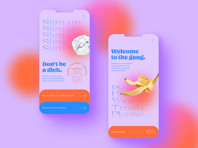 Sign Up Form dailyui 001 dailyui ui icon funky colorful typeface login signup