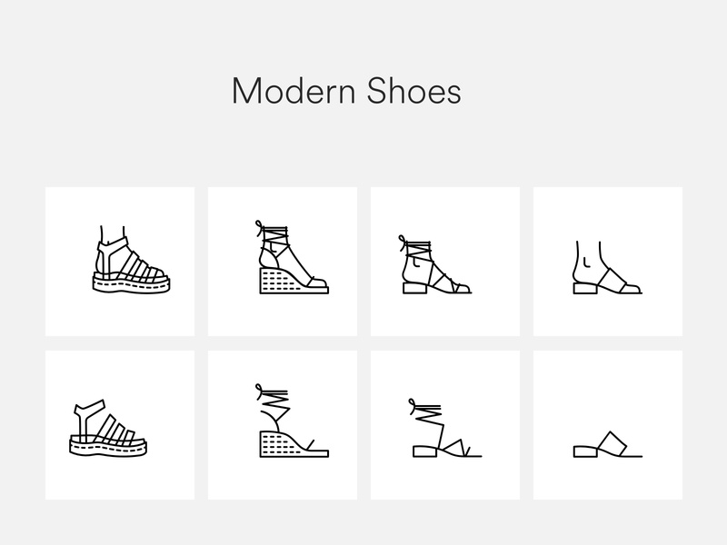 Modern shoes icons freebies download icon pack minimal clean simple accessories women fashion heels shoes icon set icon