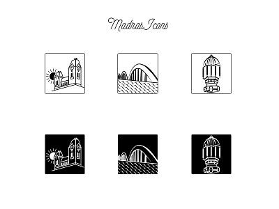 Madras Icons  places metro city india chennai black icon madras