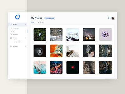 Photo Gallery in Admin Theme app sketch design redesign admin minimal flat website ux web ui