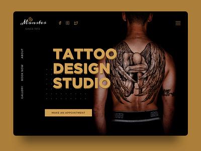 Monster Tattoo Studio tattoo sketch dark website branding web ux ui design app