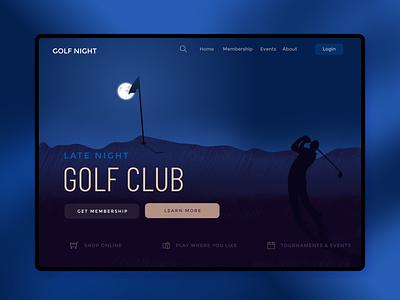 Website UI design for golf club night golf website web ux ui illustraion design branding art