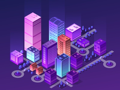 Ultraviolet  Isometric city ultraviolet architecture 3d building vector isometric design city isometric